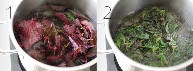 鍋で茹でている紫蘇の葉