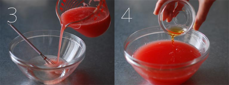 砂糖水とスイカ水を混ぜる