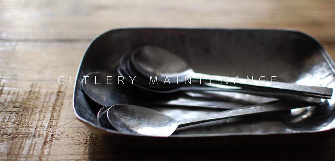ステンレスのスプーンが数本と皿