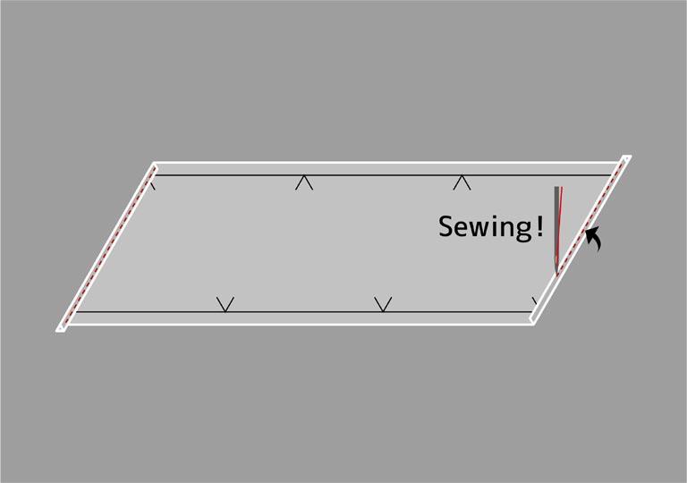 両端を三つ折りにして縫う