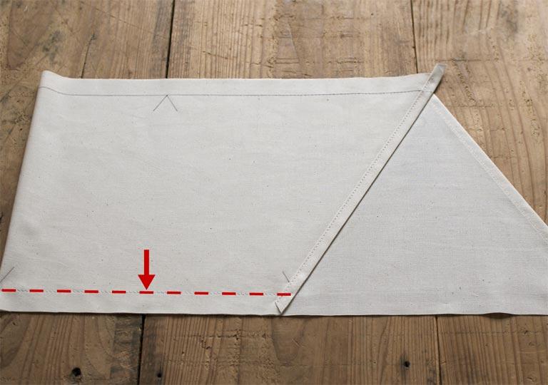折り曲げて一辺を縫った状態
