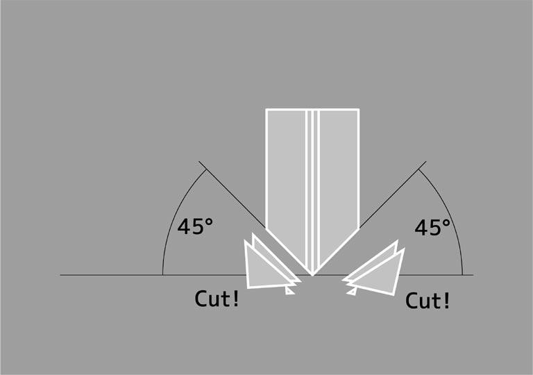 下部の両側を45度にカット