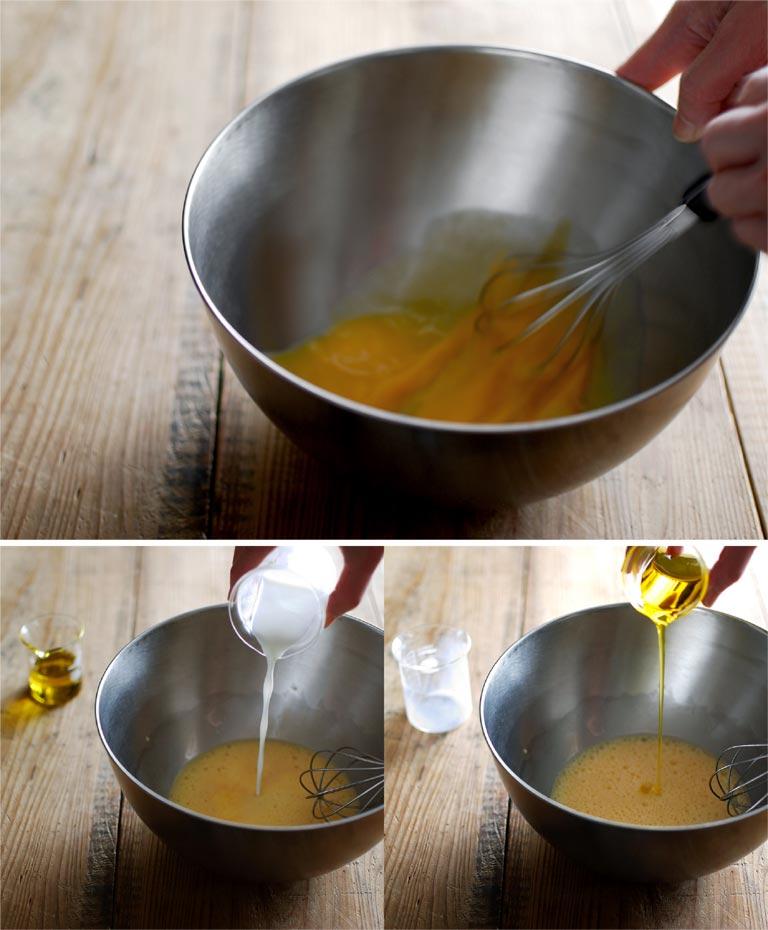 泡立て器で卵を溶いて牛乳とオイルを加える