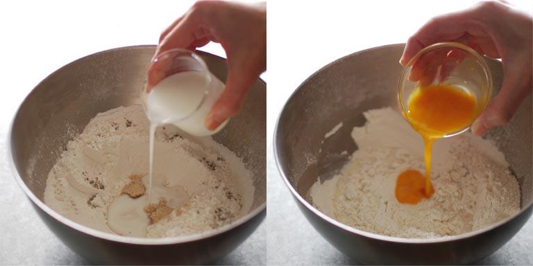 牛乳と卵液を加える