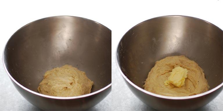 手で揉んでからバターを入れる