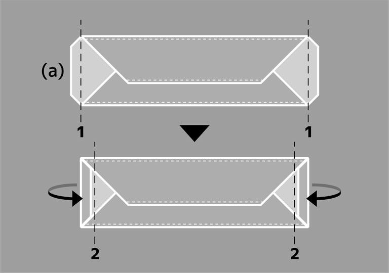 左右の端を折り曲げる