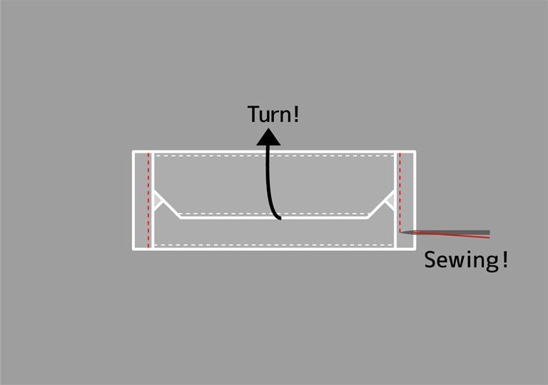 折り曲げた部分を縫う