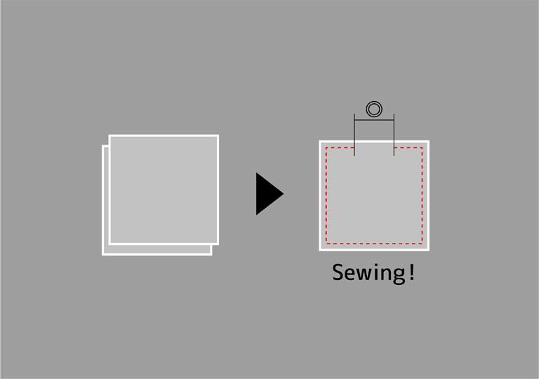 帆布を2枚合わせて縫う