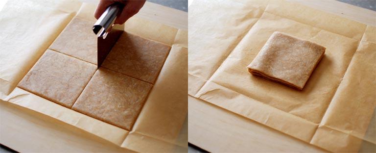 シート状の材料を4層にする