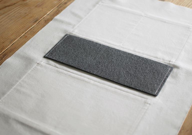 底の部分に不織布を縫い付けた状態