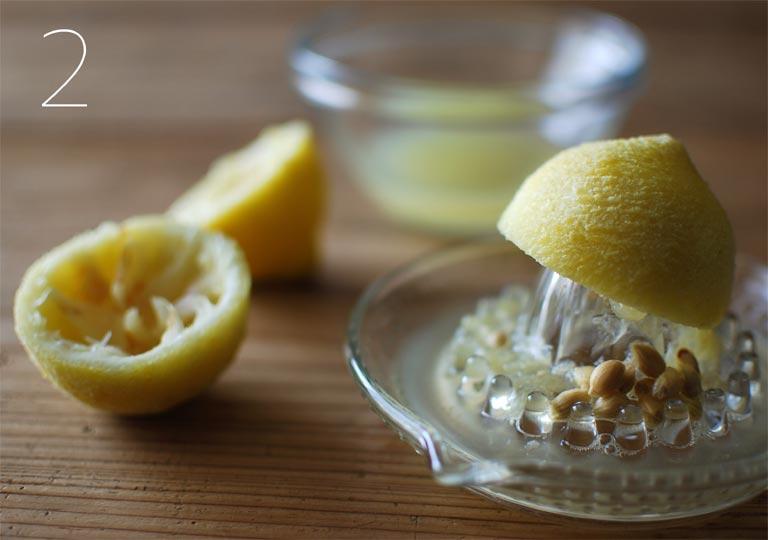 レモン果汁を絞ったあと