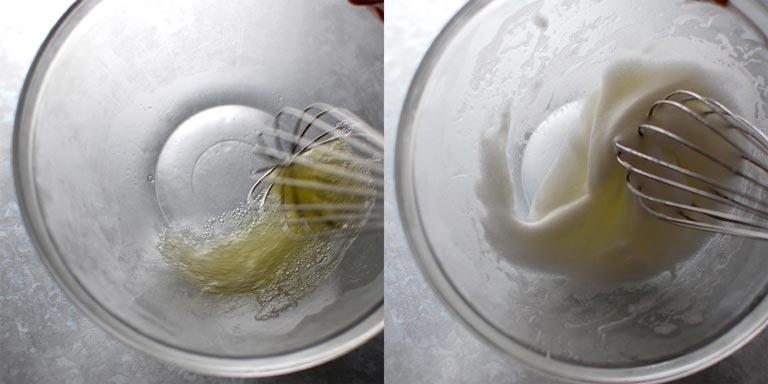 卵白を泡立て始める