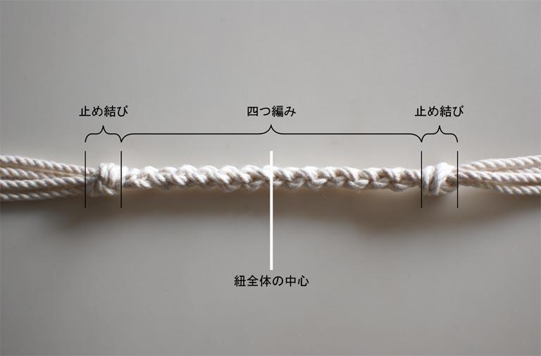 4本の紐ををまとめるための丸四つ編み