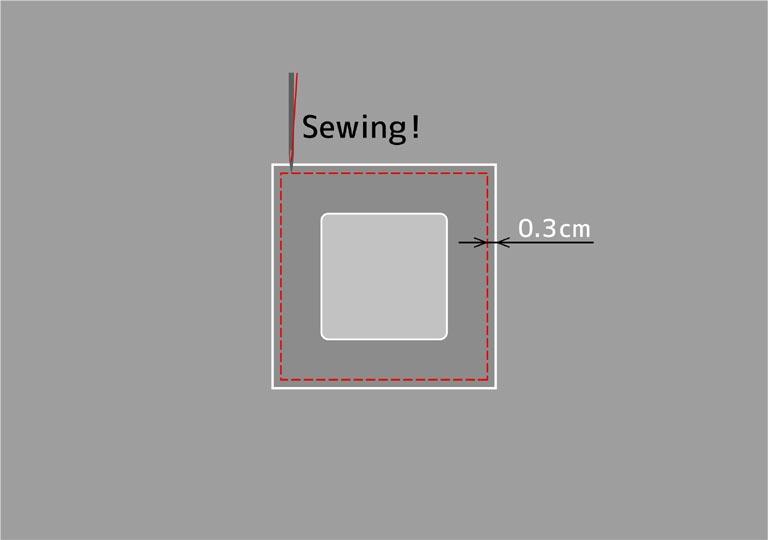 ミシンで縫う場所のイラスト