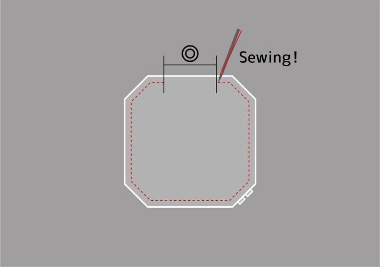 重ねた材料の周りを縫う