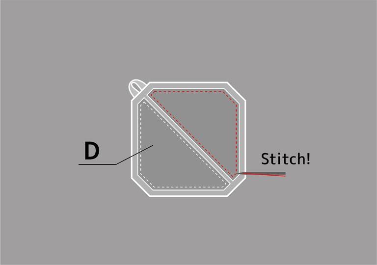 皮革シートを縫いつける
