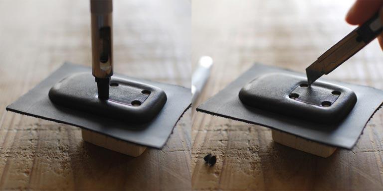 ポンチとカッターでボタン用の穴を開ける