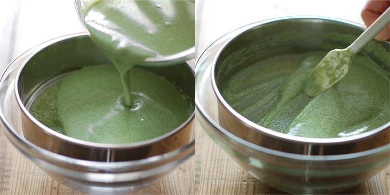 緑茶液を2回裏ごしする