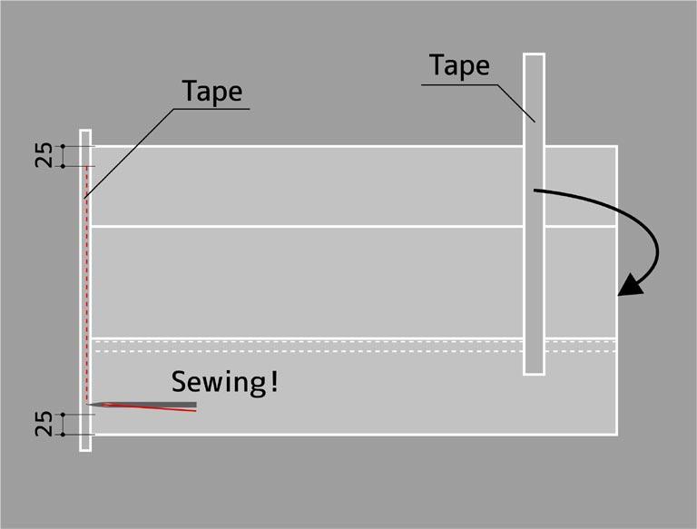 両側の切り端をテープで覆う