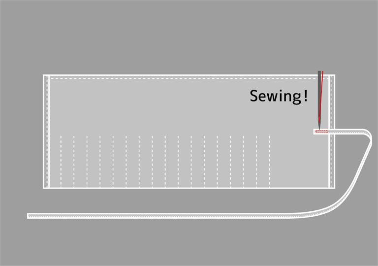 紐を縫い付ける